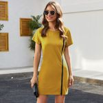 Fashion O-neck Short Sleeve Casual Mini Dress
