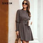 Stand Collar Ditsy Floral Print Elegant Dress