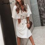 Solid ruffled sleeve blazer Elegant sash belt office  trench dress