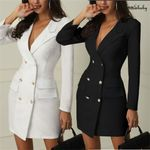 Office casual blazer white Black dress