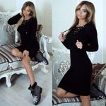 Black long sleeve knitted sweater dresses