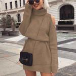 Turtleneck Off Shoulder Knitted Sweater Dress