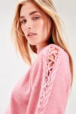 Pink Lacing Detail Long Sweater Dress