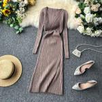 Vintage Basic V Neck Slim Dresses