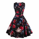 Plus Size  Vintage Elegance Pattern Floral Print Retro Dress