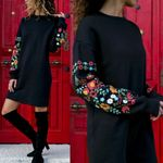 Floral Print Long Sleeve O-Neck Loose thin Warm sexy Dresses