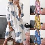 Plus Size Short Vestido Holiday  Sleeve Printed Beach  Dresses