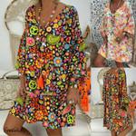Boho Style Floral Print V Neck Beach Dress