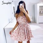 Sleeveless floral print tube dress