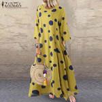 Sleeve Polka Dot Printed Long Dress