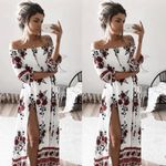 Boho Off Shoulder Beach Vintage Floral Printed Long Maxi Dress