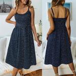 Hirigin New Dot Wrap Button Front Ruffle Sleeveless Dress