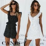 Casual V Neck Sleeveless Wrap Boho Polka Dot Mini Dress