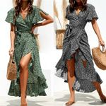 Dot V-neck Short Sleeve Wrap Boho Floral Long Maxi Dress