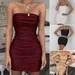 Fashion Sexy Slim Dress Wrap Chest Bodycon Pleated Sleeveless Dress