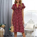 Elegant Bow Short Sleeve Wrap Boho Floral Midi Dress