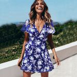 Sexy V Neck Short Sleeve Clothes Wrap Front Floral Print Dresses