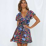 Sexy V Neck Short Sleeve Wrap Front Floral Print Dresses