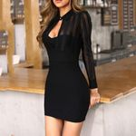 Fashion Long Sleeve Black Mesh Sheer Striped Patchwork Bodycon  Dress