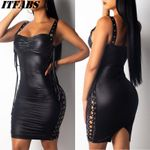 Sexy PU Leather Bandage Bodycon Midi Office Dress