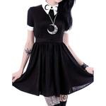 Gothic Punk Slim Fit Black Button Down Short Sleeve Mini Dress