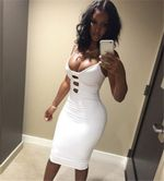 Fashion Sleeveless Spaghetti Strap Deep V-neck Front Hole Dress