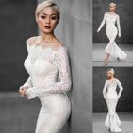 Sexy White Lace Mermaid One-shoulder Long Sleeve Dresses