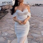 White Mesh Sexy Maxi Off Shoulder Strapess Bandage Dress