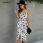Vintage Print Sexy Backless Long Casual Sundress Black White Dresses