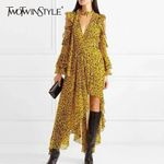 Leopard Off Shoulder Flare Sleeve Asymmetric Hem Backless Ruffles Dress