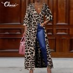 Fashion Leopard Print Long Top Celmia Ladies V-neck  Sleeve