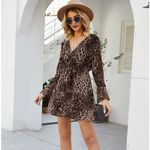 Sexy Leopard Printed Long Petal Sleeve Deep V-Neck  Dress