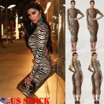 New Elegant Fashion Sexy Bodycon O Neck Leopard Dress