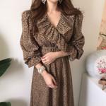 Ruffles Leopard Long Sleeve V Neck Kroean Fashion  Dresses