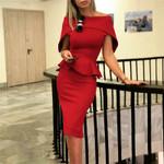 Red Off Shoulder Elegant Ruffle Dresses