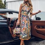 Plus Size For Sexy Sleeveless Retro Print O Neck Dress