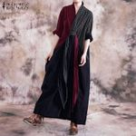 Vintage Plaid Checked Long Pacthwork Maxi  Dresses