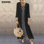Plus Size Vintage Boho O-Neck Dot Print Lace Two-piece long maxi dress