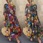 Vintage Vestidos Robe Pleated Printed Long Maxi Dresses