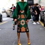 Floral Print Satin Plus Size Elegant Green Dress