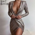 Metal Texture Glitter Silver Sexy Deep V Split Wrap Long Sleeve Midi Dress
