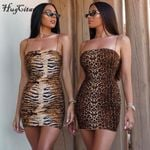leopard print slash neck sleeveless tube slip mini dress