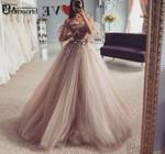 New A-Line Tulle Gowns Strapless Flowers vestidos de novia Bride Dress