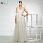 elegant v neck appliques wedding dress