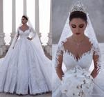 Luxurious Beaded Arabic Ball Gown Long Sleeves Wedding Dresses