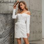 Off shoulder belt sexy white blazer dress