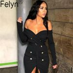 New Arrival Office Blazer Slash Neck Button Belted Bodycon Mini Dress