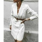 Long Sleeve V-Neck Double Breasted Blazer Dress