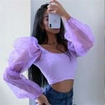 Puff Sleeve Pullover T-shirt  Crop Top U Neck Solid Patchwork