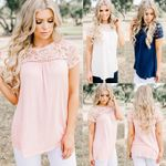 Elegant Lace Tops Chiffon Women's T-shirt